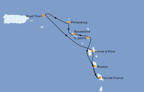 Itinerario del crucero Caribe del Este 7 días a bordo del MSC Seaview