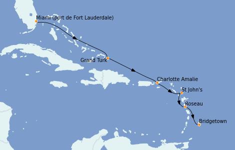 Itinerario del crucero Caribe del Este 7 días a bordo del Silver Whisper