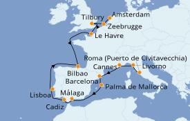 Itinerario de crucero Mediterráneo 16 días a bordo del Norwegian Jade