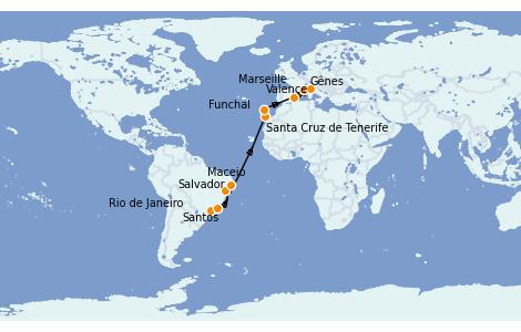 Itinerario del crucero Trasatlántico y Grande Viaje 2022 17 días a bordo del MSC Seaside