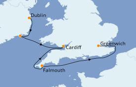 Itinerario de crucero Islas Británicas 6 días a bordo del Silver Whisper