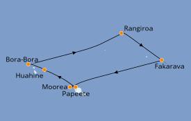 Itinerario de crucero Polinesia 11 días a bordo del Paul Gauguin
