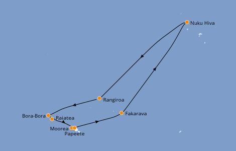 Itinerario del crucero Polinesia 10 días a bordo del Seven Seas Navigator