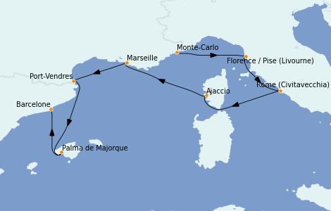 Itinerario del crucero Mediterráneo 7 días a bordo del Marina