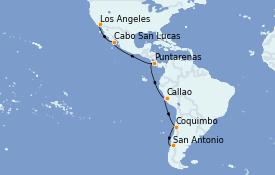 Itinerario de crucero Riviera Mexicana 18 días a bordo del Sapphire Princess