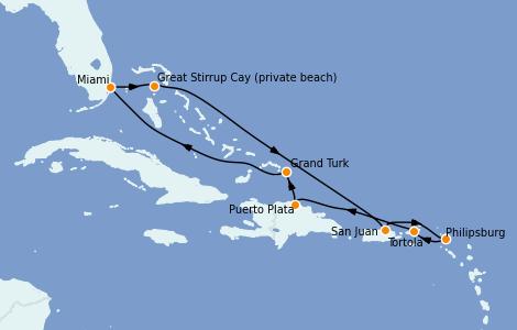 Itinerario del crucero Caribe del Este 9 días a bordo del Norwegian Sky