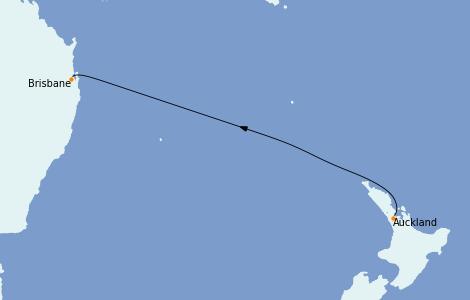 Itinerario del crucero Australia 2023 4 días a bordo del Coral Princess