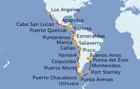 Itinerario de crucero Riviera Mexicana 38 días a bordo del Seven Seas Mariner