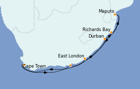 Itinerario de crucero África 13 días a bordo del Azamara Pursuit