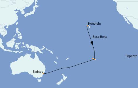 Itinerario del crucero Trasatlántico y Grande Viaje 2022 17 días a bordo del Radiance of the Seas