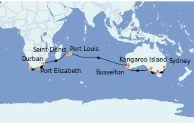 Itinerario de crucero Australia 2023 27 días a bordo del Queen Mary 2