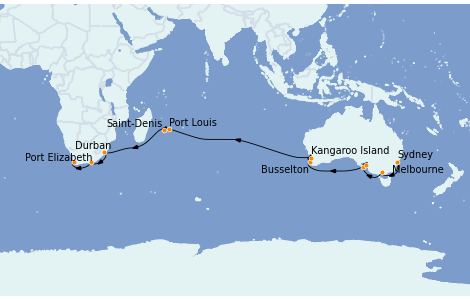 Itinerario del crucero Australia 2023 26 días a bordo del Queen Mary 2