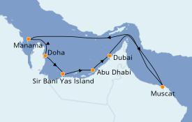 Itinerario de crucero Dubái 12 días a bordo del Azamara Quest