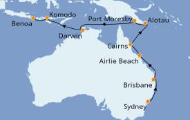 Itinerario de crucero Australia 2021 19 días a bordo del Seven Seas Explorer