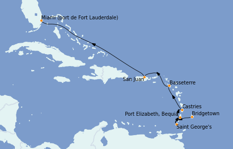 Itinerario del crucero Caribe del Este 8 días a bordo del Silver Whisper