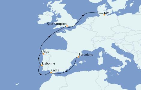 Itinerario del crucero Mediterráneo 9 días a bordo del MSC Grandiosa