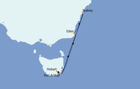 Itinerario del crucero Australia 2023 7 días a bordo del Radiance of the Seas