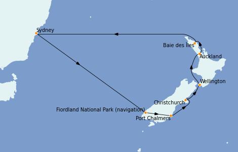 Itinerario del crucero Australia 2023 12 días a bordo del Royal Princess