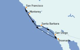 Itinerario de crucero California 8 días a bordo del ms Koningsdam