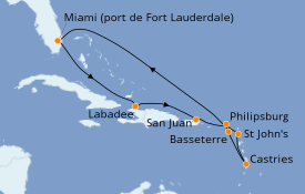 Itinerario de crucero Caribe del Este 11 días a bordo del Vision of the Seas