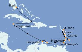 Itinerario de crucero Caribe del Este 13 días a bordo del MS Sirena