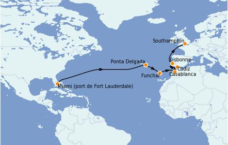 Itinerario del crucero Islas Canarias 16 días a bordo del Sky Princess