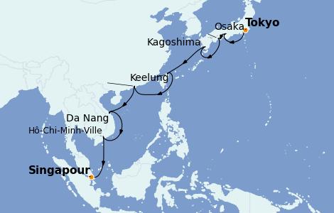 Itinerario del crucero Asia 17 días a bordo del Azamara Quest