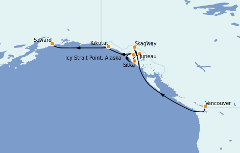 Itinerario del crucero Alaska 7 días a bordo del Radiance of the Seas