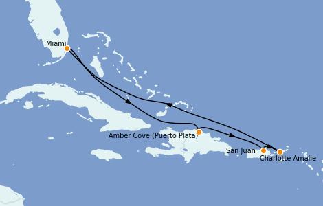 Itinerario del crucero Caribe del Este 7 días a bordo del Carnival Celebration