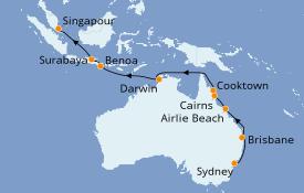 Itinerario de crucero Australia 2020 19 días a bordo del Seven Seas Mariner