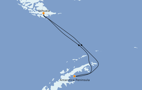 Itinerario del crucero Exploración polar 9 días a bordo del L'Austral