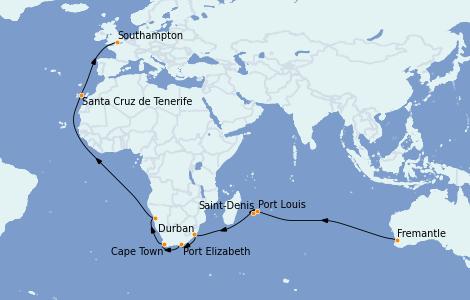 Itinerario del crucero Australia 2023 33 días a bordo del Queen Mary 2