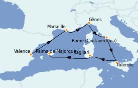 Itinerario de crucero Mediterráneo 7 días a bordo del MSC Seaview