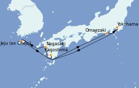 Itinerario de crucero Asia 8 días a bordo del Diamond Princess