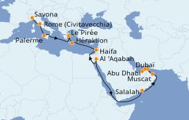Itinerario de crucero Dubái 21 días a bordo del Costa Diadema