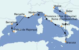 Itinerario de crucero Mediterráneo 11 días a bordo del MS Marina