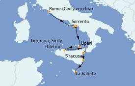 Itinerario de crucero Mediterráneo 8 días a bordo del Le Lyrial