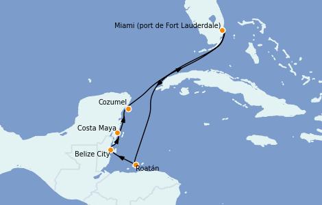 Itinerario del crucero Caribe del Oeste 7 días a bordo del Sky Princess
