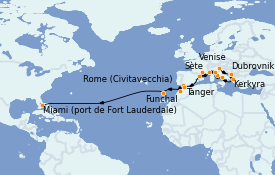 Itinerario de crucero Mediterráneo 28 días a bordo del ms Volendam