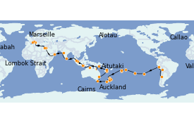 Itinerario de crucero Vuelta al mundo 2022 82 días a bordo del MSC Poesia