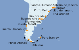 Itinerario de crucero Suramérica 30 días a bordo del Seven Seas Voyager