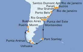 Itinerario de crucero Suramérica 27 días a bordo del Seven Seas Voyager
