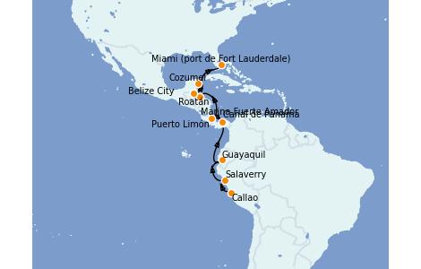 Itinerario del crucero Caribe del Oeste 16 días a bordo del Silver Moon