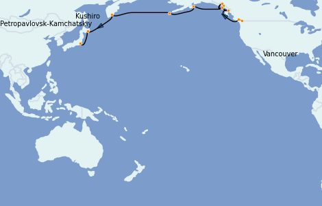 Itinerario del crucero Alaska 18 días a bordo del Silver Shadow