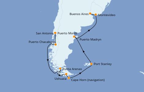 Itinerario del crucero Norteamérica 14 días a bordo del Norwegian Star