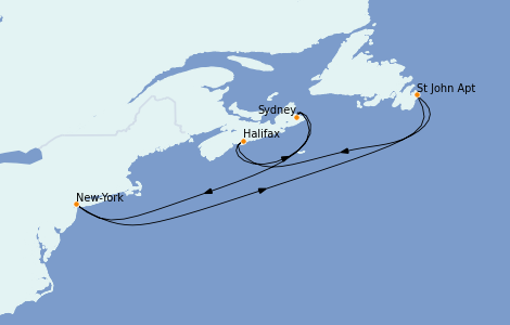 Itinerario del crucero Canadá 7 días a bordo del Carnival Magic
