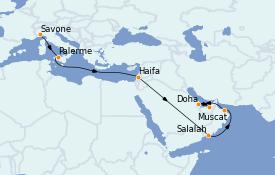 Itinerario de crucero Dubái 18 días a bordo del Costa Pacifica