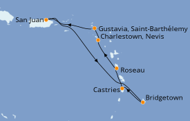 Itinerario de crucero Caribe del Este 8 días a bordo del Azamara Journey