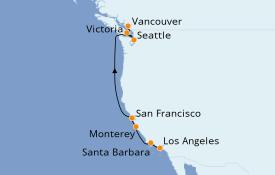 Itinerario de crucero California 9 días a bordo del Seabourn Odyssey