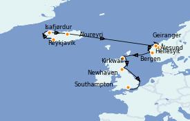 Itinerario de crucero Fiordos y Noruega 11 días a bordo del Norwegian Star